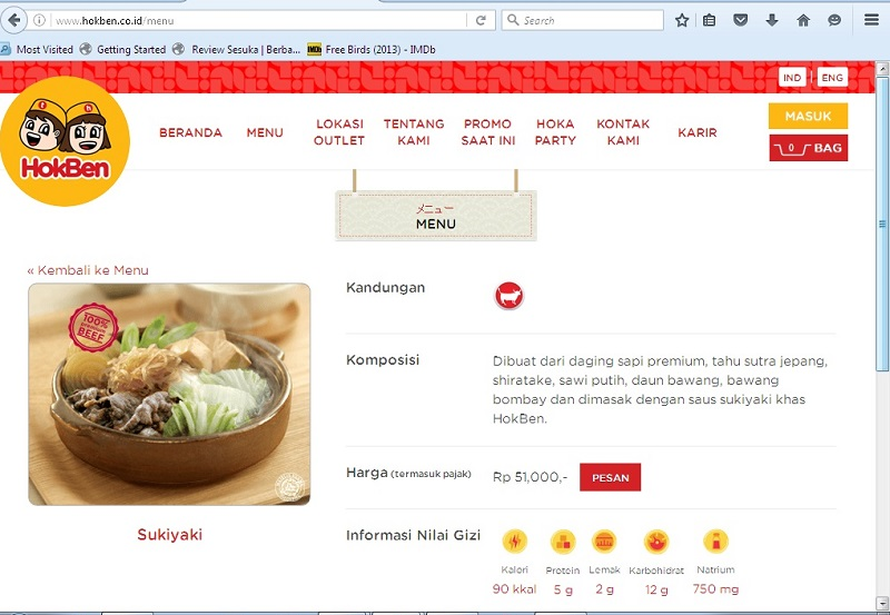 contoh nilai gizi dan komposisi dari sukiyaki Hokben