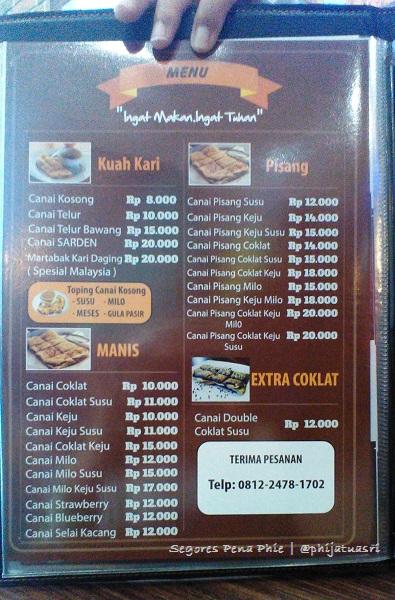 daftar harga menu roti canai GH Corner Jogja